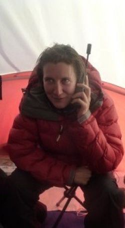 British explorer Felicity Aston on the satphone