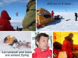With 850 km in 8 days, Larramendi and team are almost flying,..