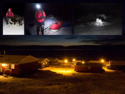 Very shortly after the start along the seaice of the west coast of Greenland, pair had to abandon due to serious illness