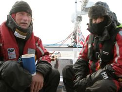 "Thorleif and Ibrahim on watch on the ""Northern Passage""."