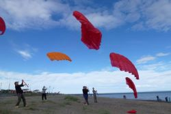 Kite training on the beach of Punta Arenas