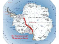The famous TransAntarctic Mountain Range which divides Antarctica into two parts