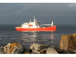 The SA Agulhas which carries all the expedition material to Crown Bay