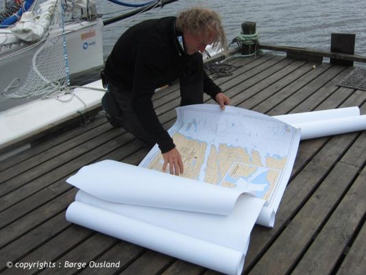 14 July / Thorleif going over Russian sea charts.
