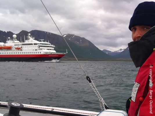 7 July / Passing Hurtigruten's coastal steamer by Andøya.