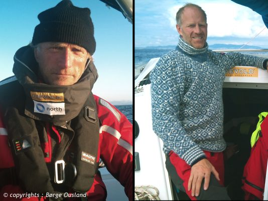 1 July / Børge comfortably dressed for fair-weather sailing. And his skipper Thorleif at the left.
