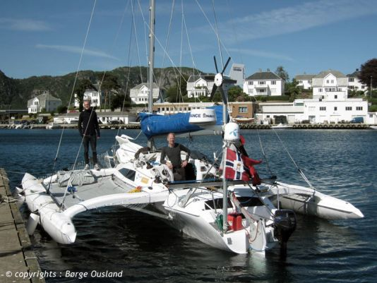 26 June / The trimaran - moored for a few hours in the peaceful village of Farsund.
