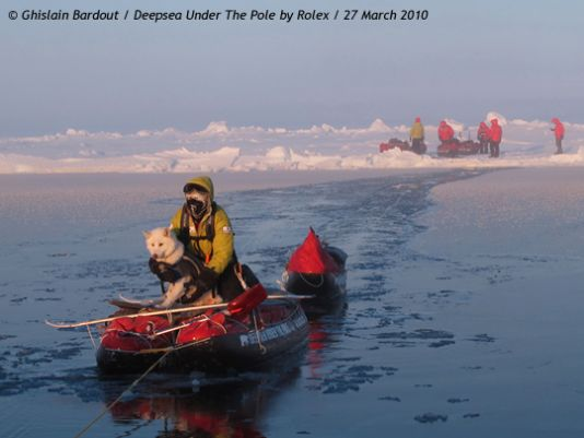 Between 85 and 86 degrees North, the ice was terribly broken up, criss-crossed with numerous leads and dotted with huge expanses of open water.