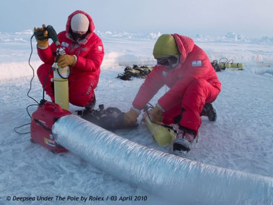 Ghislain Bardout's team is gradually getting used to the cold, wind and jumbled, chaotic sea-ice that takes on a different appearance every day -oh, and the drift!.