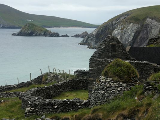 Traditional Irish Cottage ruin on the Great Blasket Island.