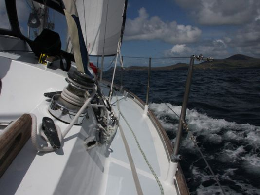 Sailing along the coast in a straight line for 100 miles to the Aran Islands.