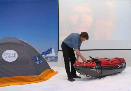 Alain Hubert with a sledge and a tent