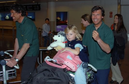 Zaventem Airport: Dixie Dansercoer and his daughter