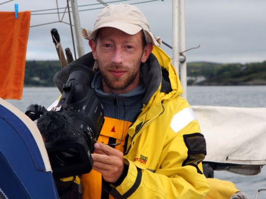 2 June. Bertrand Lozay 7 am, still sleepy but ready to capture on video the departure from Glandore to Crookhaven.