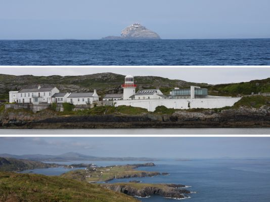 Above :  The Bull, little island situated at the tip of Durcey head / Middle : RockIsland Light House at the entrance of Crookhaven / Below : The subject being painted : Crookhaven and the large Long Island bay.