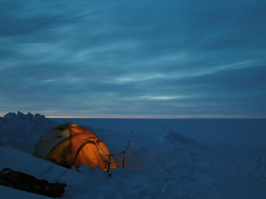 A very veyr cold night on the glacier.