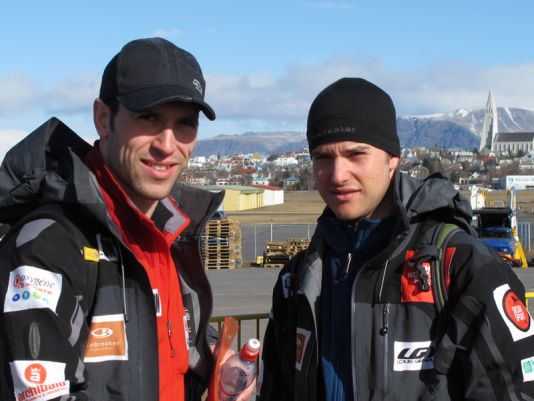 Sébastien Lapierre (left) and Olivier Giasson at Reykjavik airport before leaving for Groenland.