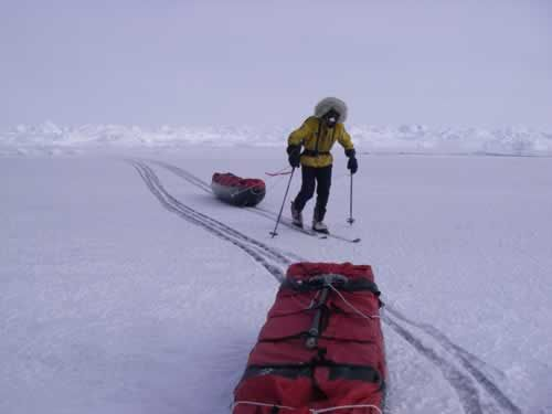 19 May: I am crossing a lead covered in fresh ice, which bends under my weight (Hubert)